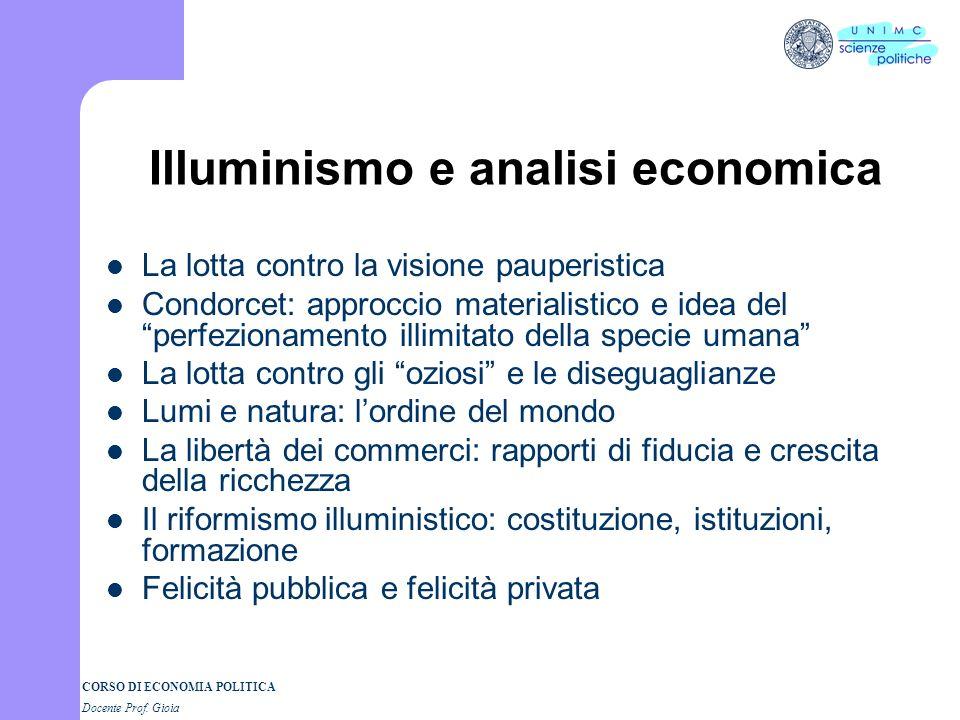 CORSO DI ECONOMIA POLITICA Docente Prof. Gioia Mercantilismo: laissez faire e mercati internazionali - Mercati e incertezza - Richard Cantillon: limpr