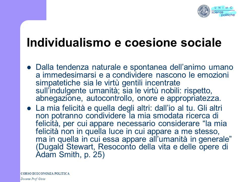 CORSO DI ECONOMIA POLITICA Docente Prof. Gioia Smith e la Theory Come funziona la società? I processi di individualizzazione della società moderna Com