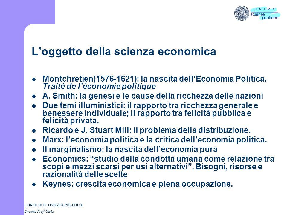CORSO DI ECONOMIA POLITICA Docente Prof. Gioia OGGETTO DELLA SPE 1. La scienza economica 2. Gli autori rappresentativi di essa, i metodi adottati, le
