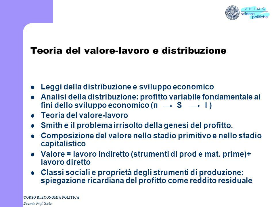 CORSO DI ECONOMIA POLITICA Docente Prof. Gioia David Ricardo 1772 - 1823 Un uomo daffari e un economista di successo Lavoro in borsa e riflessione sui