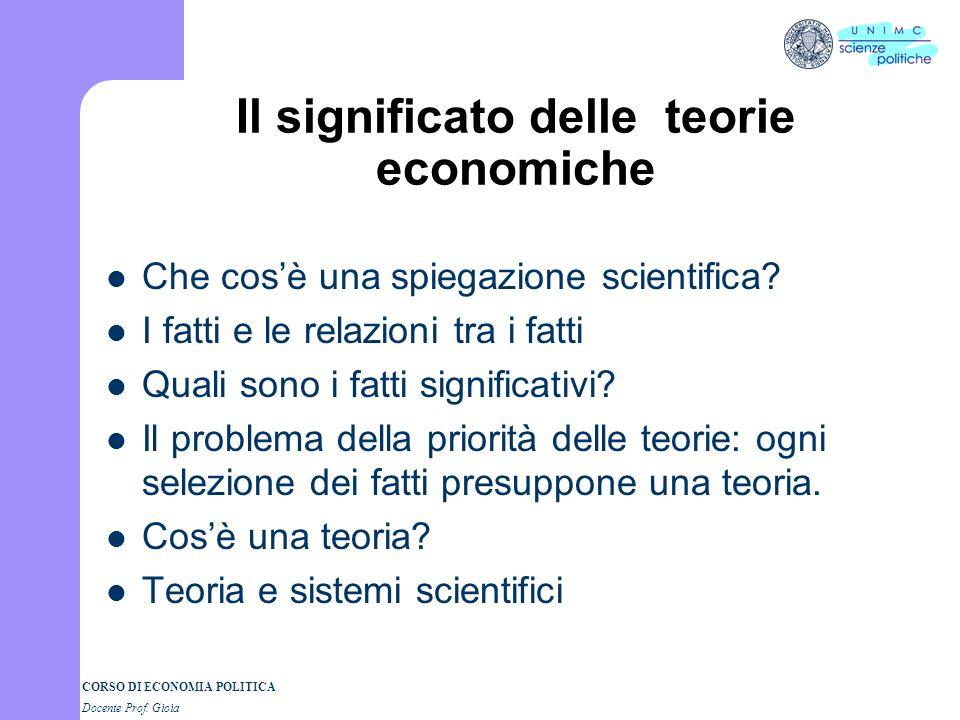CORSO DI ECONOMIA POLITICA Docente Prof. Gioia Loggetto della scienza economica Montchretien(1576-1621): la nascita dellEconomia Politica. Traité de l