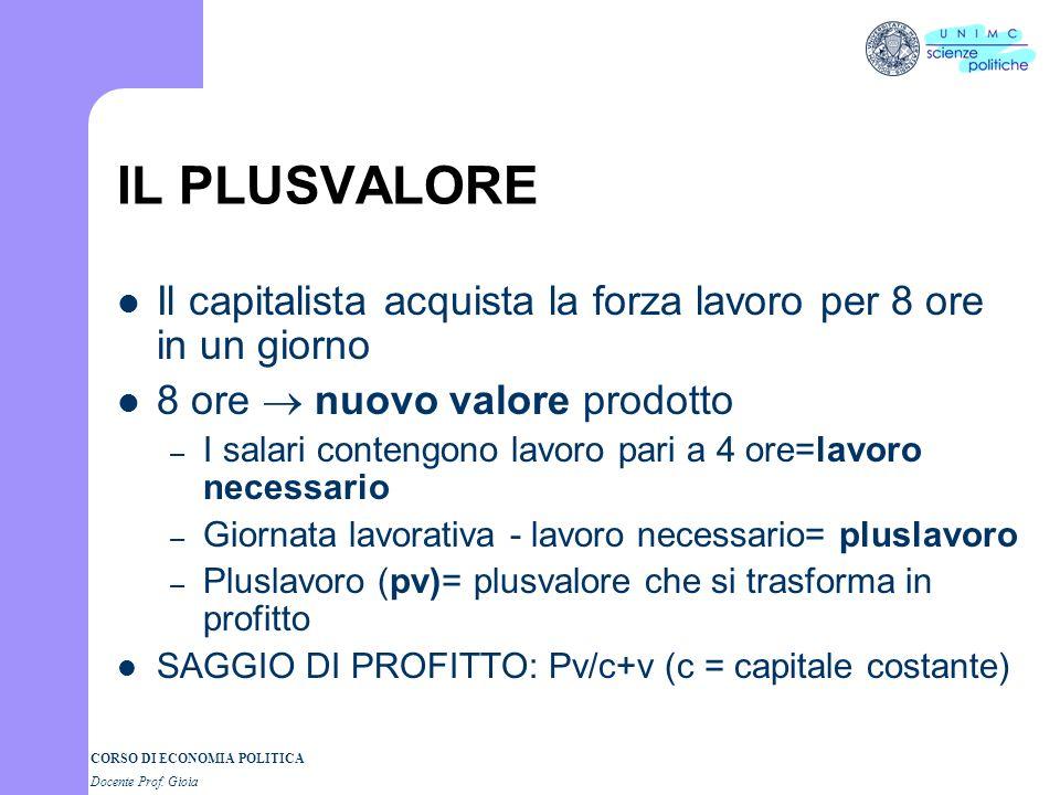 CORSO DI ECONOMIA POLITICA Docente Prof. Gioia Marx: la critica dellec. politica ETERNIZZAZIONE E NATURALIZZAZIONE DEI RAPPORTI ECONOMICI: IL PRESENTE