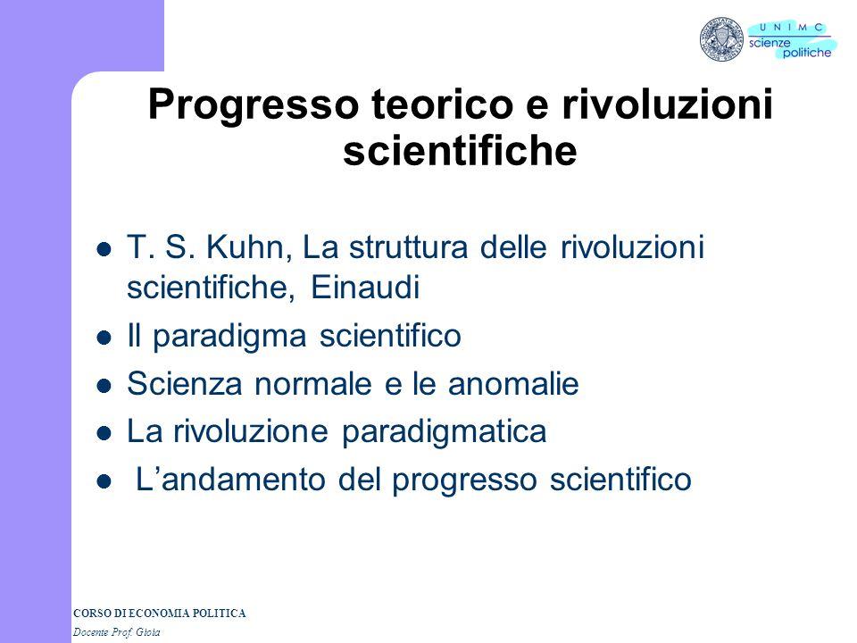 CORSO DI ECONOMIA POLITICA Docente Prof.Gioia Progresso teorico e rivoluzioni scientifiche T.