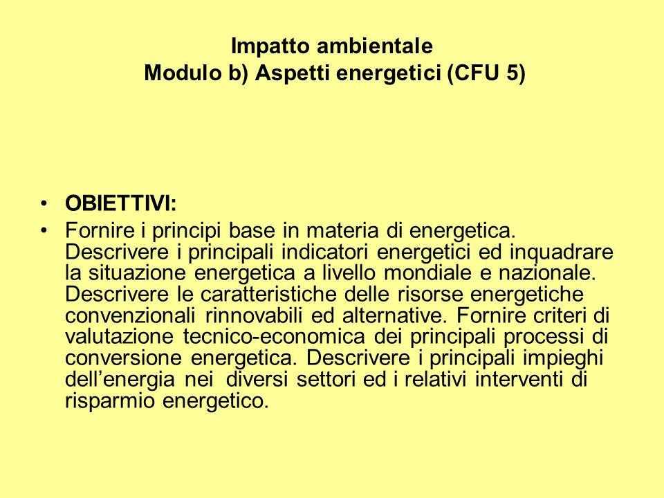 Impatto ambientale Modulo b) Aspetti energetici (CFU 5) OBIETTIVI: Fornire i principi base in materia di energetica.