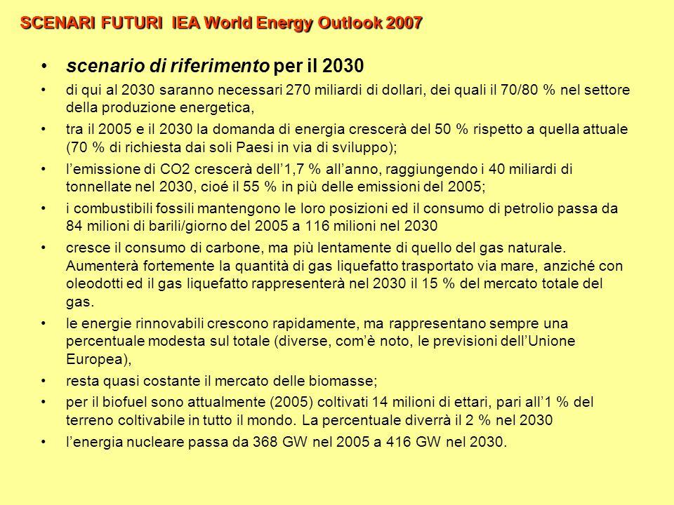 SCENARI FUTURI IEA World Energy Outlook 2007 scenario di riferimento per il 2030 di qui al 2030 saranno necessari 270 miliardi di dollari, dei quali il 70/80 % nel settore della produzione energetica, tra il 2005 e il 2030 la domanda di energia crescerà del 50 % rispetto a quella attuale (70 % di richiesta dai soli Paesi in via di sviluppo); lemissione di CO2 crescerà dell1,7 % allanno, raggiungendo i 40 miliardi di tonnellate nel 2030, cioé il 55 % in più delle emissioni del 2005; i combustibili fossili mantengono le loro posizioni ed il consumo di petrolio passa da 84 milioni di barili/giorno del 2005 a 116 milioni nel 2030 cresce il consumo di carbone, ma più lentamente di quello del gas naturale.