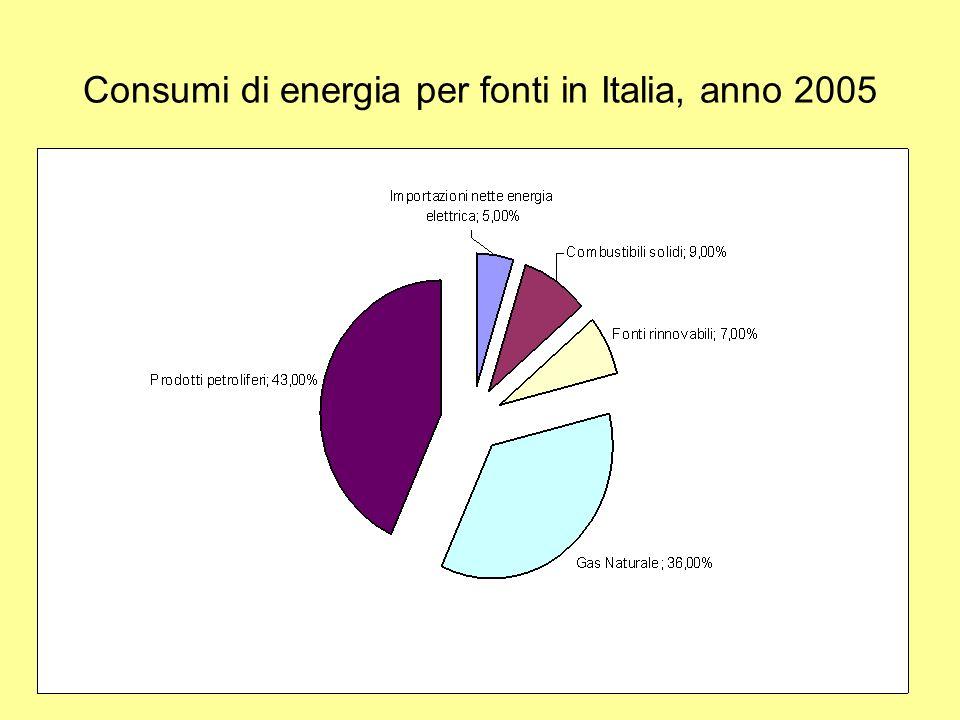 Consumi di energia per fonti in Italia, anno 2005