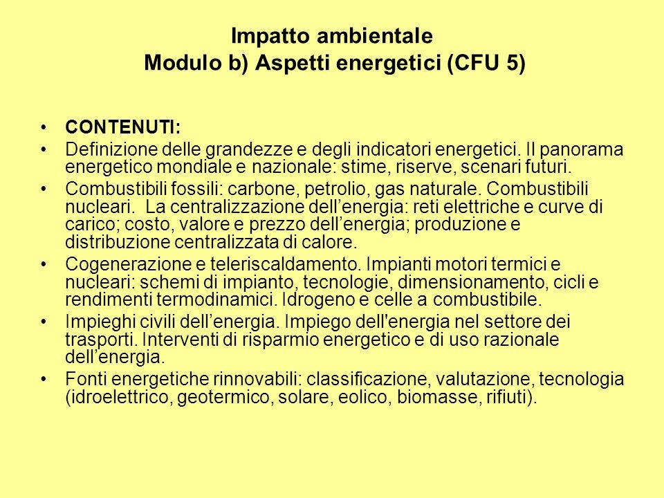 Impatto ambientale Modulo b) Aspetti energetici (CFU 5) CONTENUTI: Definizione delle grandezze e degli indicatori energetici.