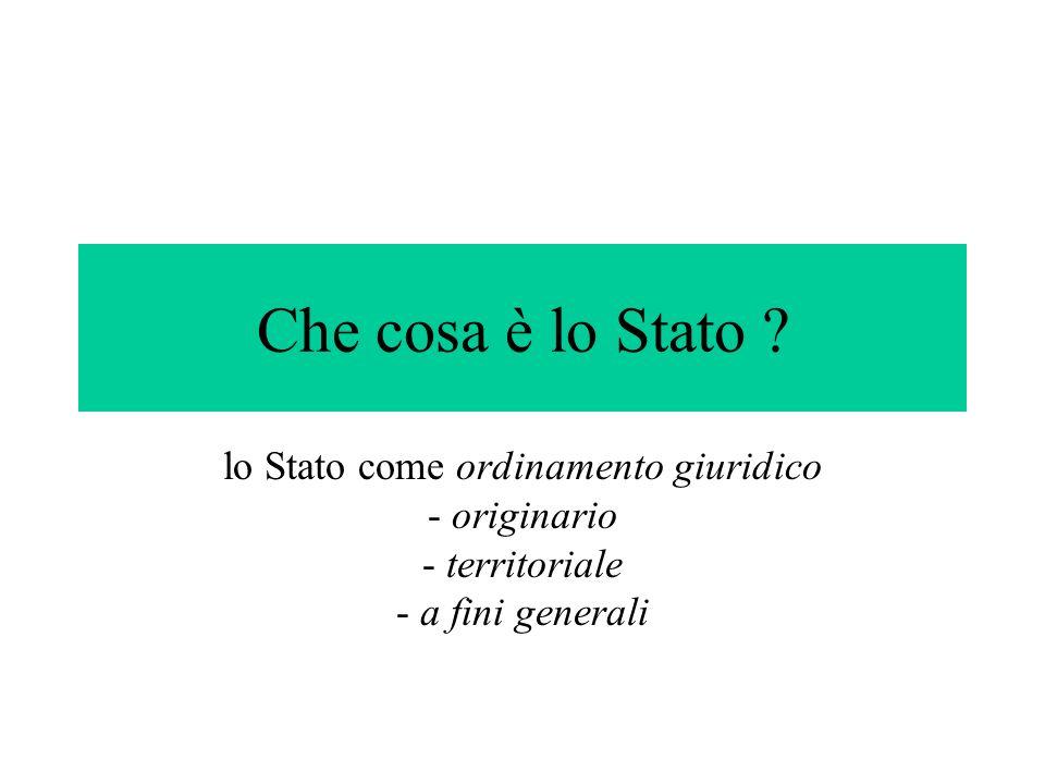 Che cosa è lo Stato ? lo Stato come ordinamento giuridico - originario - territoriale - a fini generali