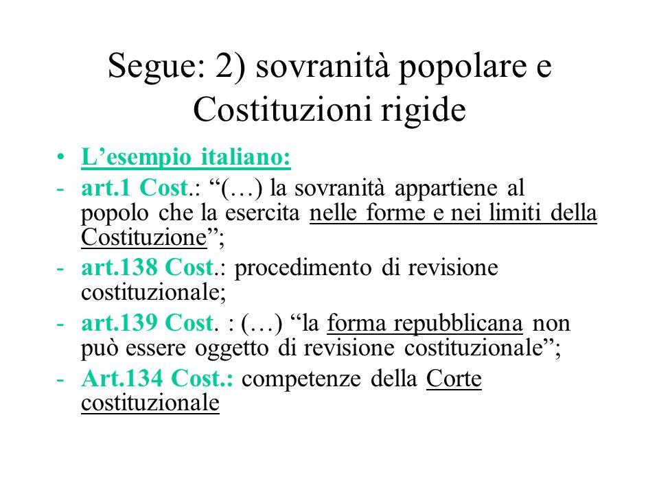 Segue: 2) sovranità popolare e Costituzioni rigide Lesempio italiano: -art.1 Cost.: (…) la sovranità appartiene al popolo che la esercita nelle forme