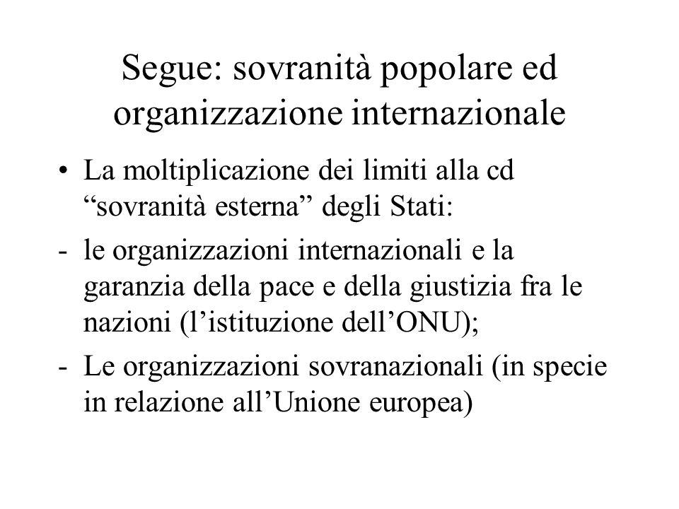 Segue: sovranità popolare ed organizzazione internazionale La moltiplicazione dei limiti alla cd sovranità esterna degli Stati: -le organizzazioni int