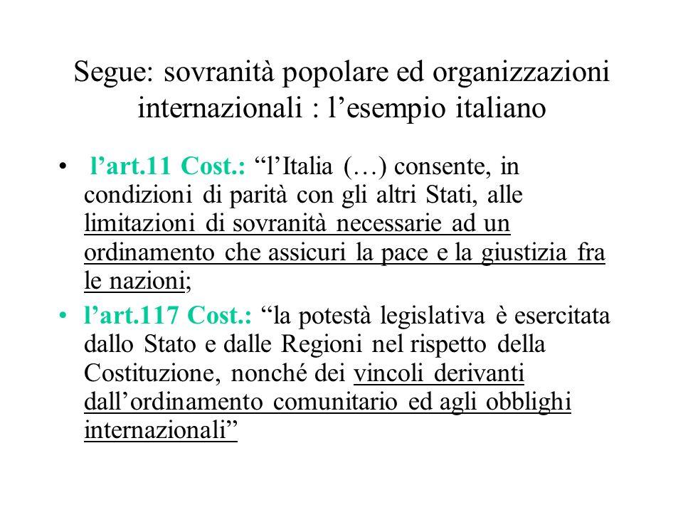 Segue: sovranità popolare ed organizzazioni internazionali : lesempio italiano lart.11 Cost.: lItalia (…) consente, in condizioni di parità con gli al
