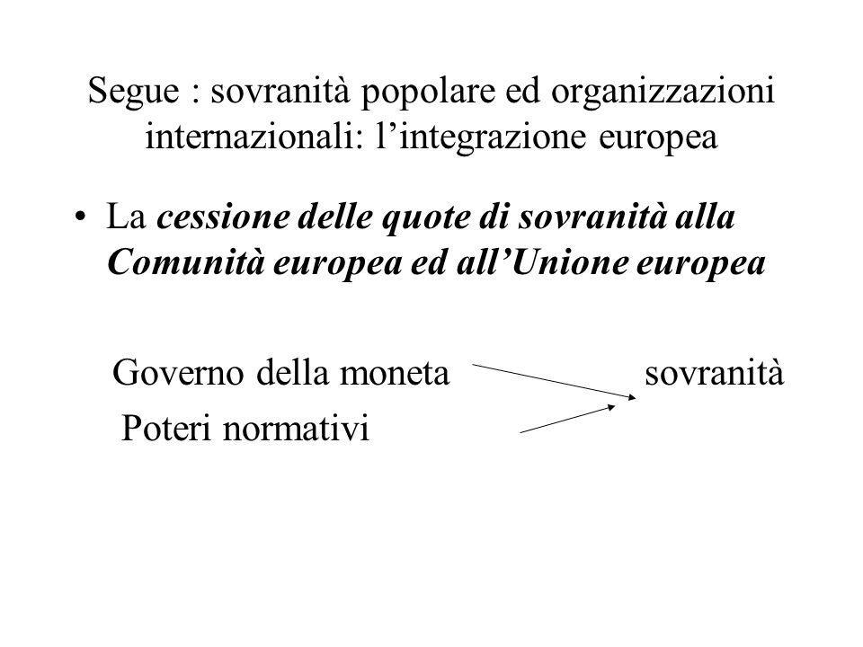 Segue : sovranità popolare ed organizzazioni internazionali: lintegrazione europea La cessione delle quote di sovranità alla Comunità europea ed allUn