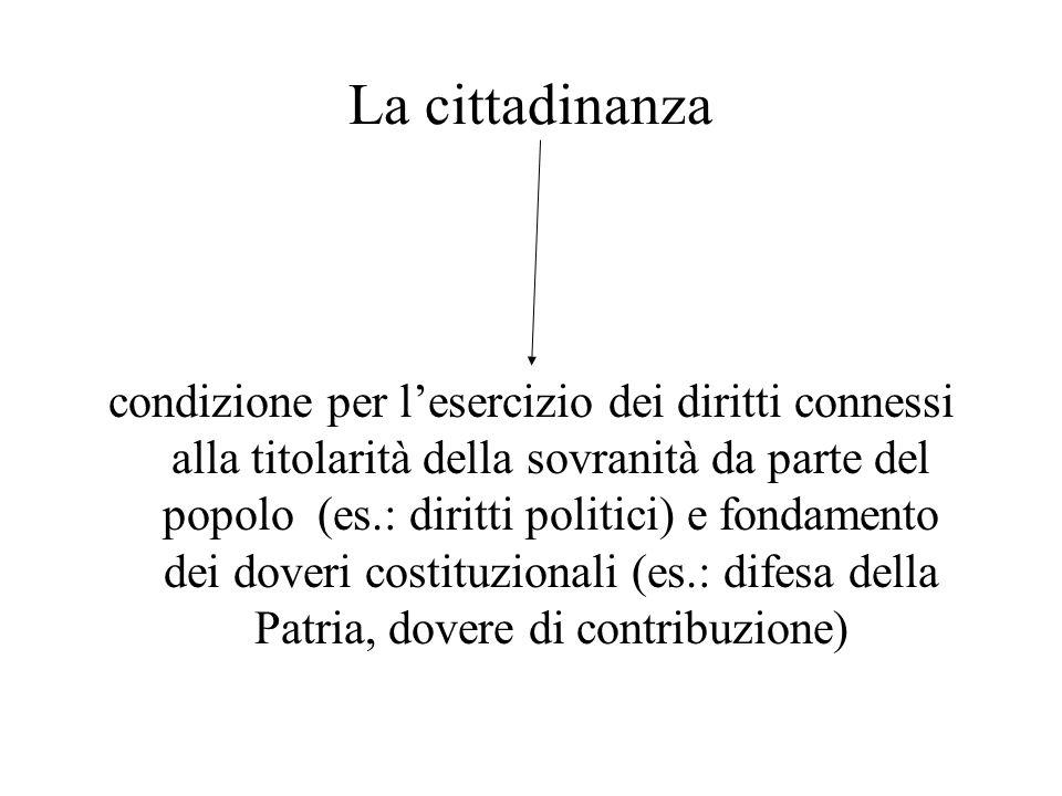 La cittadinanza condizione per lesercizio dei diritti connessi alla titolarità della sovranità da parte del popolo (es.: diritti politici) e fondament