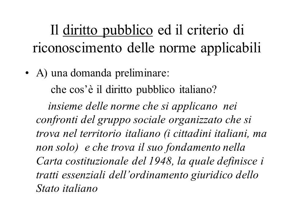 Il diritto pubblico ed il criterio di riconoscimento delle norme applicabili A) una domanda preliminare: che cosè il diritto pubblico italiano? insiem