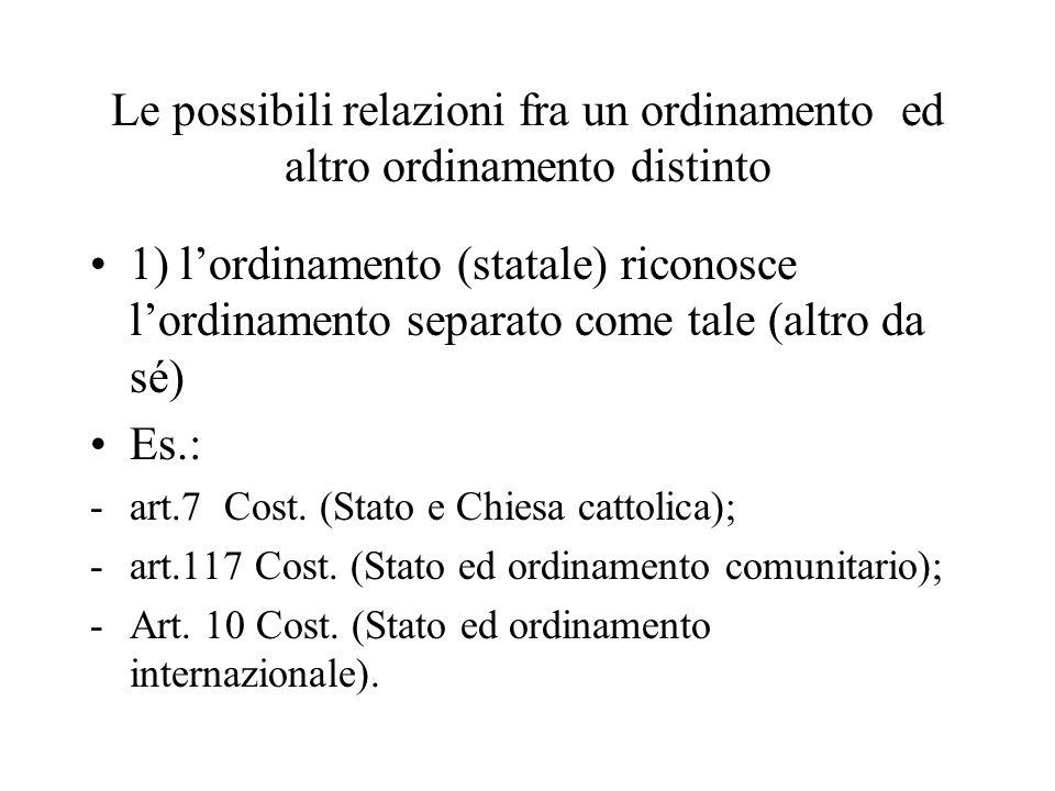 Le possibili relazioni fra un ordinamento ed altro ordinamento distinto 1) lordinamento (statale) riconosce lordinamento separato come tale (altro da