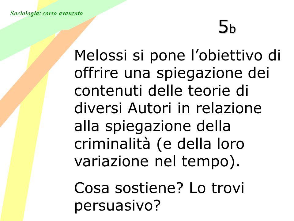 Sociologia: corso avanzato 5b5b5b5b Melossi si pone lobiettivo di offrire una spiegazione dei contenuti delle teorie di diversi Autori in relazione alla spiegazione della criminalità (e della loro variazione nel tempo).