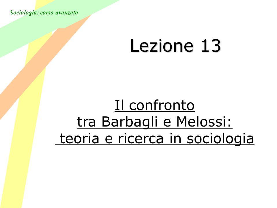 Sociologia: corso avanzato Lezione 13 Il confronto tra Barbagli e Melossi: teoria e ricerca in sociologia