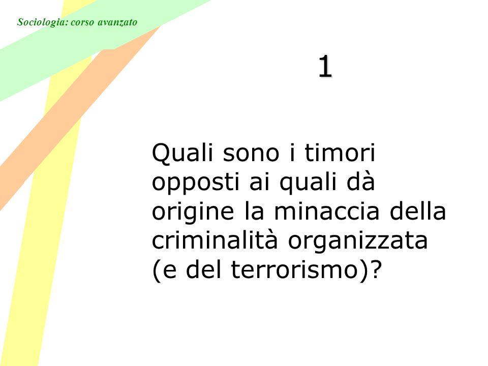 Sociologia: corso avanzato 1 Quali sono i timori opposti ai quali dà origine la minaccia della criminalità organizzata (e del terrorismo)