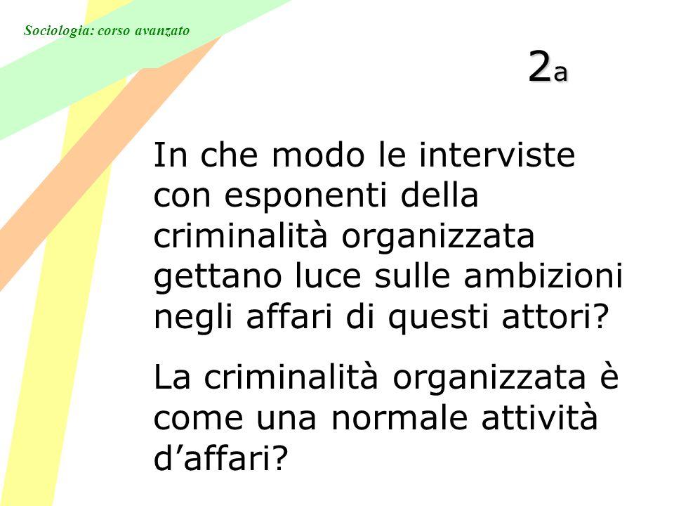 Sociologia: corso avanzato 2a2a2a2a In che modo le interviste con esponenti della criminalità organizzata gettano luce sulle ambizioni negli affari di questi attori.