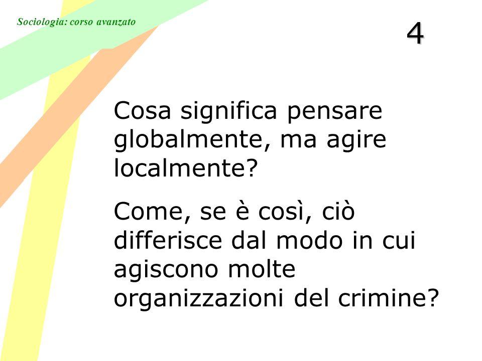 Sociologia: corso avanzato4 Cosa significa pensare globalmente, ma agire localmente.