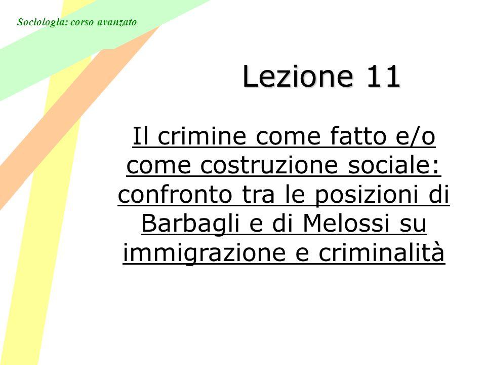 Sociologia: corso avanzato Lezione 11 Il crimine come fatto e/o come costruzione sociale: confronto tra le posizioni di Barbagli e di Melossi su immigrazione e criminalità