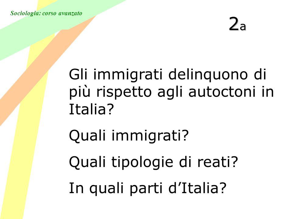 Sociologia: corso avanzato 2a2a2a2a Gli immigrati delinquono di più rispetto agli autoctoni in Italia.