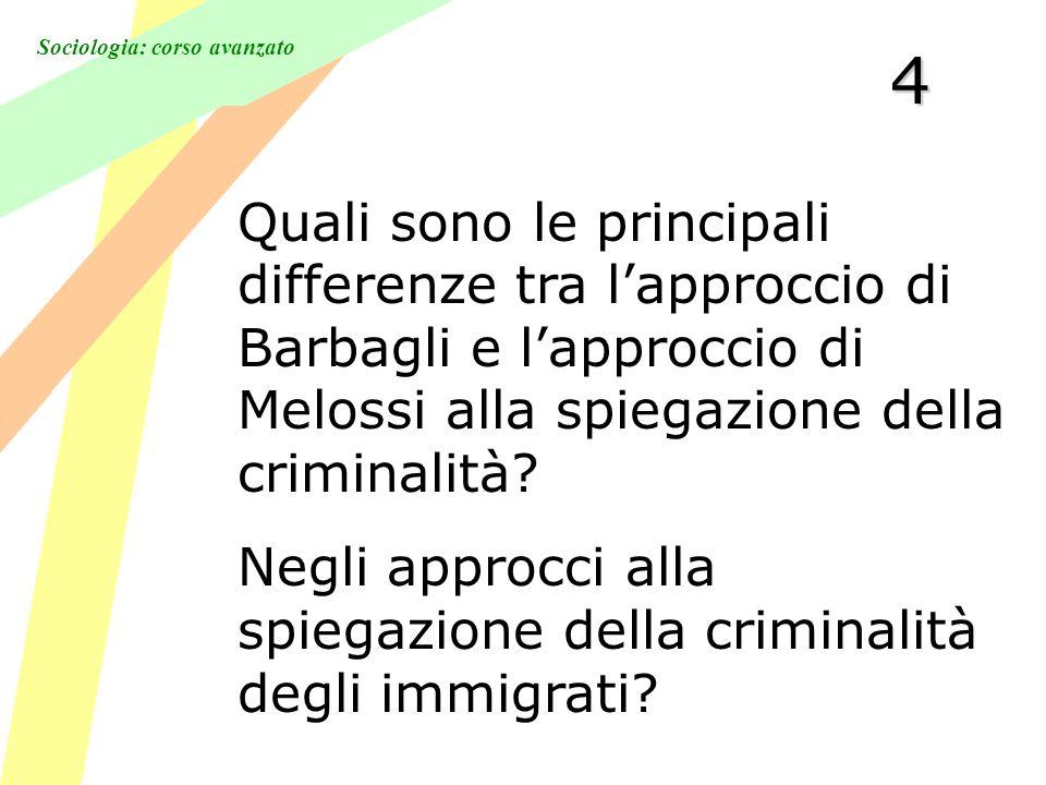 Sociologia: corso avanzato 4 Quali sono le principali differenze tra lapproccio di Barbagli e lapproccio di Melossi alla spiegazione della criminalità.