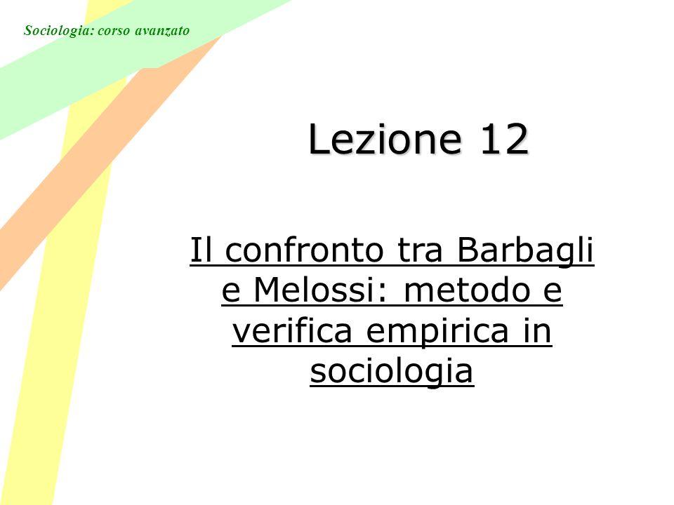 Sociologia: corso avanzato Lezione 12 Il confronto tra Barbagli e Melossi: metodo e verifica empirica in sociologia
