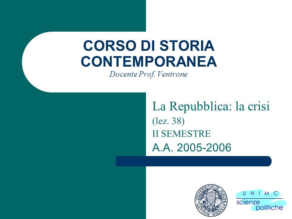 CORSO DI STORIA CONTEMPORANEA Docente Prof. Ventrone La Repubblica: la crisi (lez.