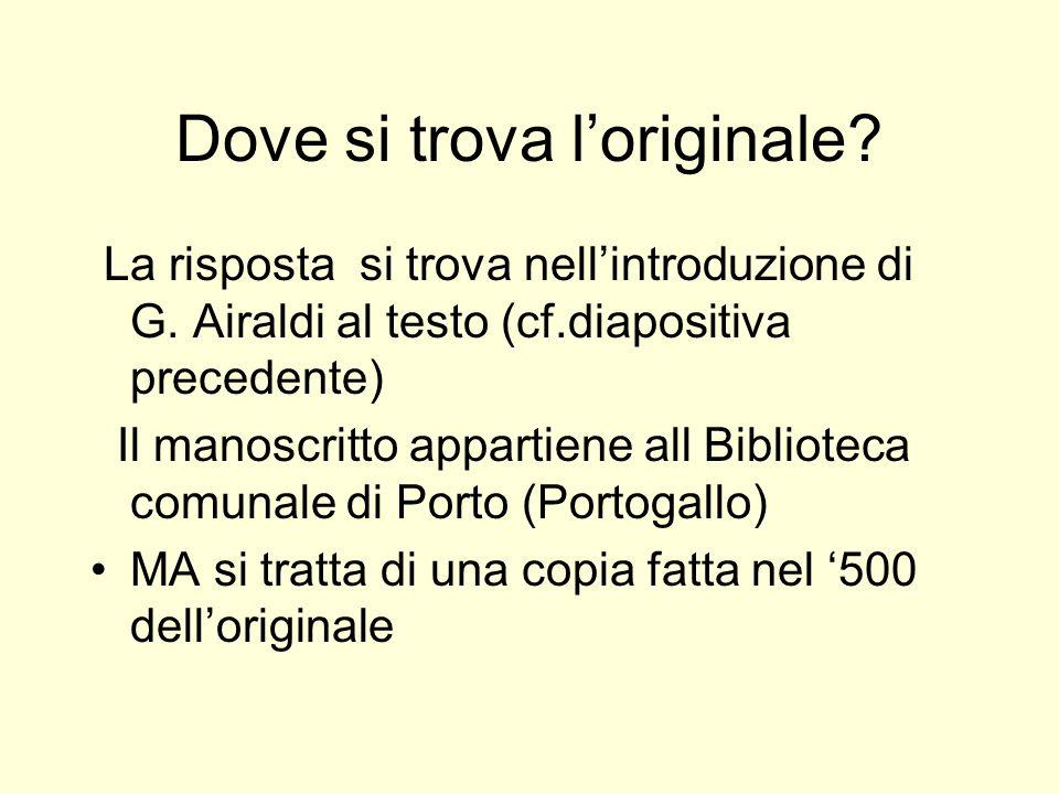 Dove si trova loriginale? La risposta si trova nellintroduzione di G. Airaldi al testo (cf.diapositiva precedente) Il manoscritto appartiene all Bibli