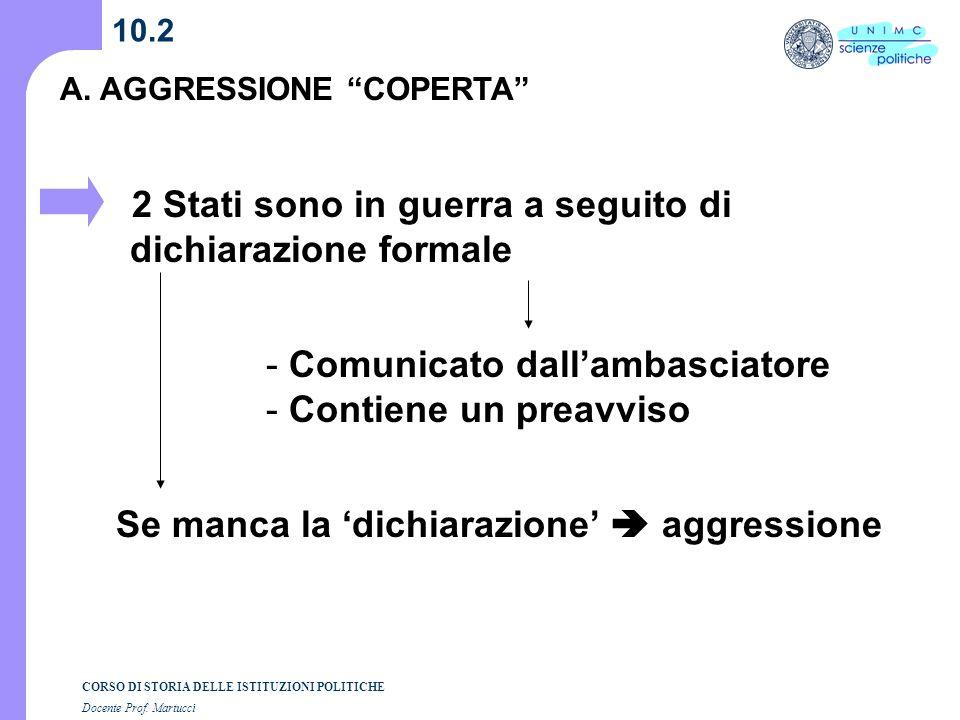 CORSO DI STORIA DELLE ISTITUZIONI POLITICHE Docente Prof. Martucci 10.2 A. AGGRESSIONE COPERTA 2 Stati sono in guerra a seguito di dichiarazione forma