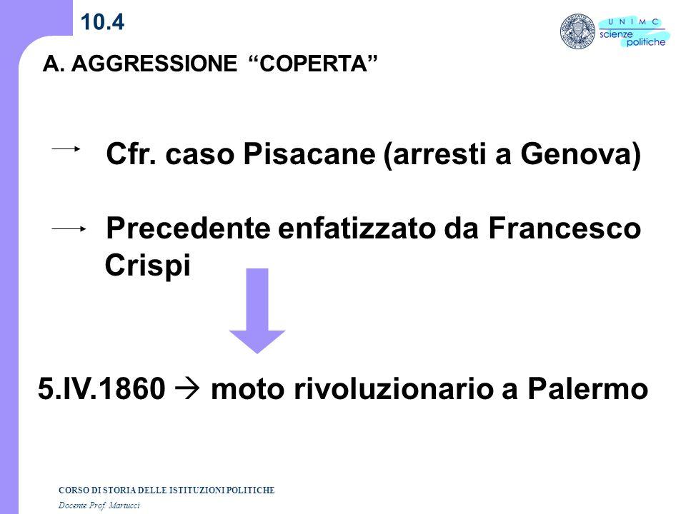 CORSO DI STORIA DELLE ISTITUZIONI POLITICHE Docente Prof. Martucci 10.4 A. AGGRESSIONE COPERTA Cfr. caso Pisacane (arresti a Genova) Precedente enfati