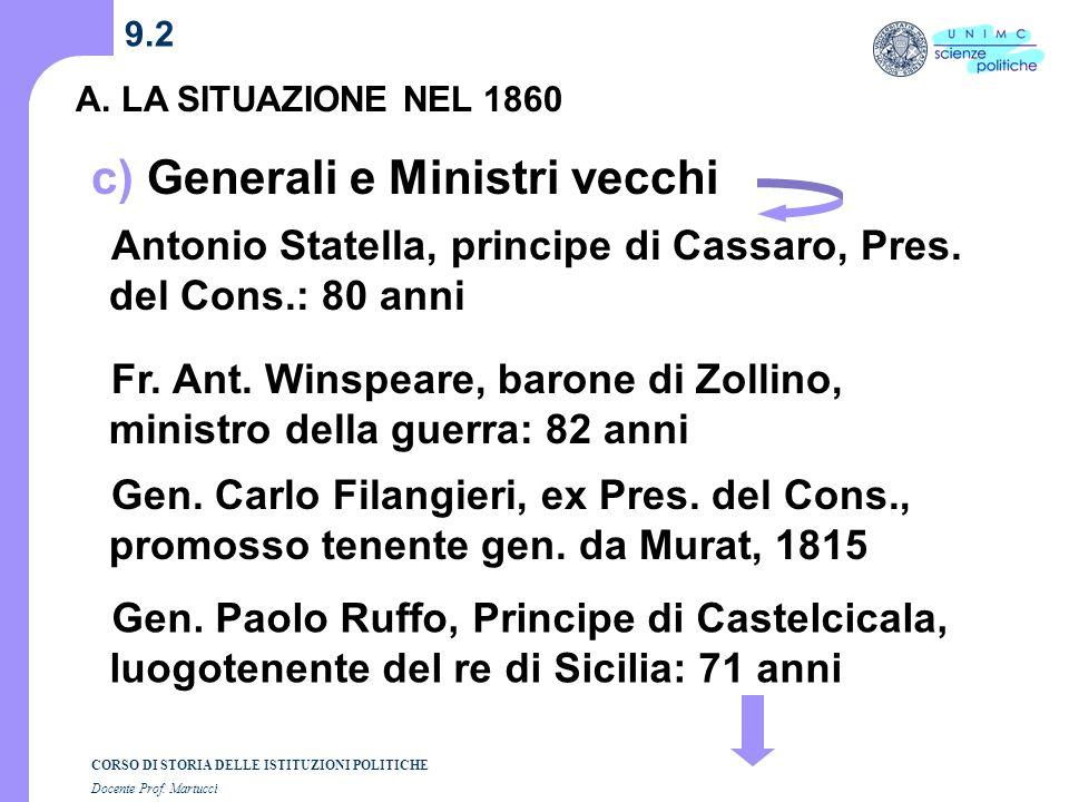 CORSO DI STORIA DELLE ISTITUZIONI POLITICHE Docente Prof. Martucci 9.2 A. LA SITUAZIONE NEL 1860 c) Generali e Ministri vecchi Fr. Ant. Winspeare, bar