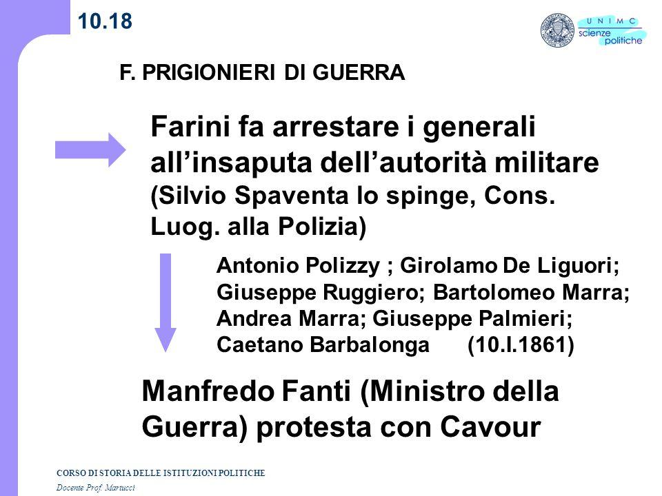 CORSO DI STORIA DELLE ISTITUZIONI POLITICHE Docente Prof. Martucci 10.18 Manfredo Fanti (Ministro della Guerra) protesta con Cavour Farini fa arrestar