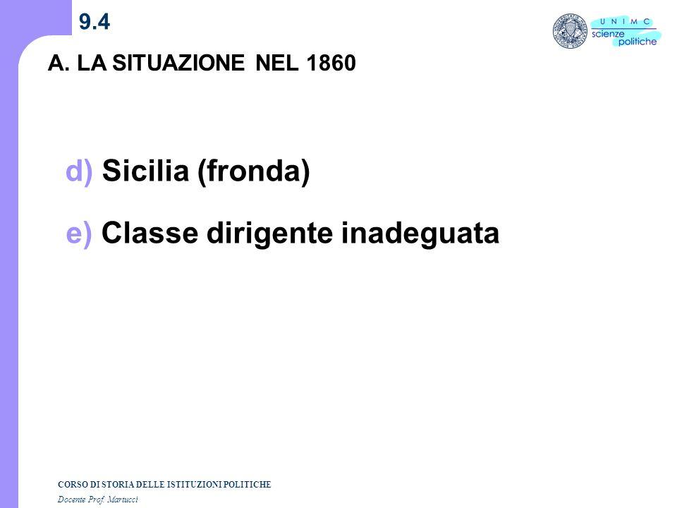 CORSO DI STORIA DELLE ISTITUZIONI POLITICHE Docente Prof. Martucci 9.4 A. LA SITUAZIONE NEL 1860 d) Sicilia (fronda) e) Classe dirigente inadeguata