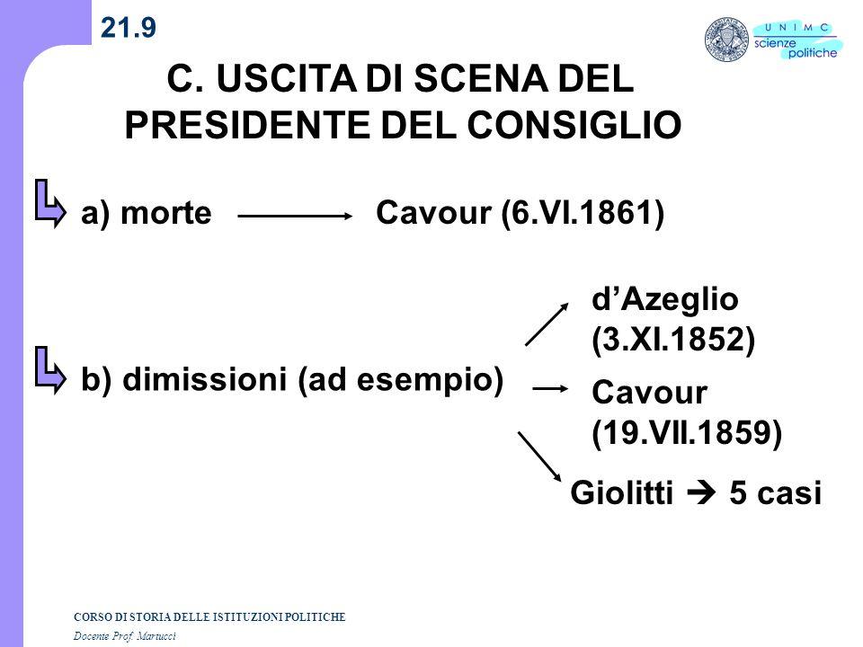 CORSO DI STORIA DELLE ISTITUZIONI POLITICHE Docente Prof. Martucci 21.9 C. USCITA DI SCENA DEL PRESIDENTE DEL CONSIGLIO a) morte b) dimissioni (ad ese