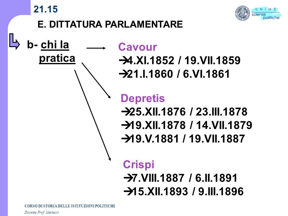 CORSO DI STORIA DELLE ISTITUZIONI POLITICHE Docente Prof. Martucci 21.15 E. DITTATURA PARLAMENTARE b- chi la pratica Cavour 4.XI.1852 / 19.VII.1859 21