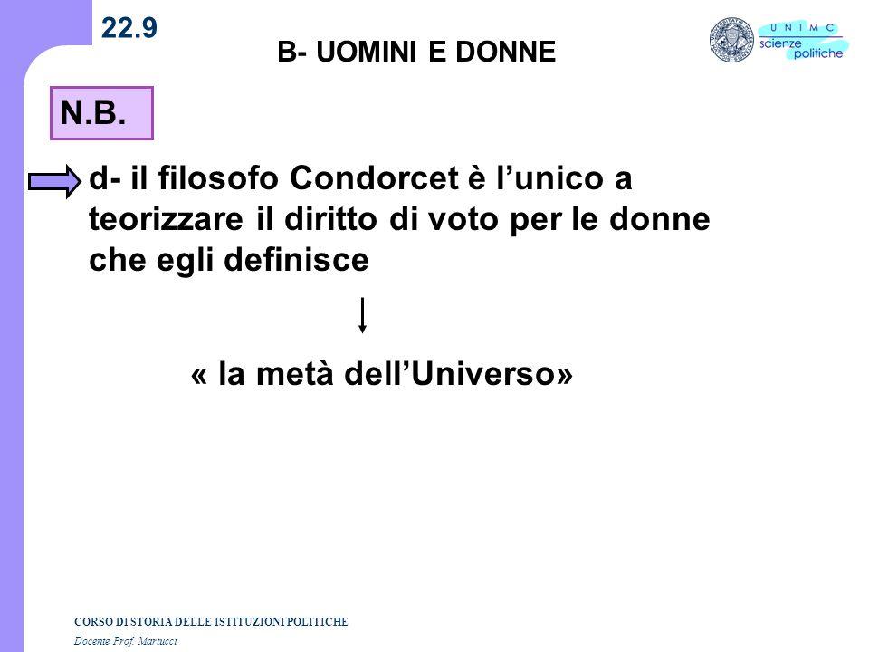 CORSO DI STORIA DELLE ISTITUZIONI POLITICHE Docente Prof. Martucci 22.9 B- UOMINI E DONNE N.B. d- il filosofo Condorcet è lunico a teorizzare il dirit