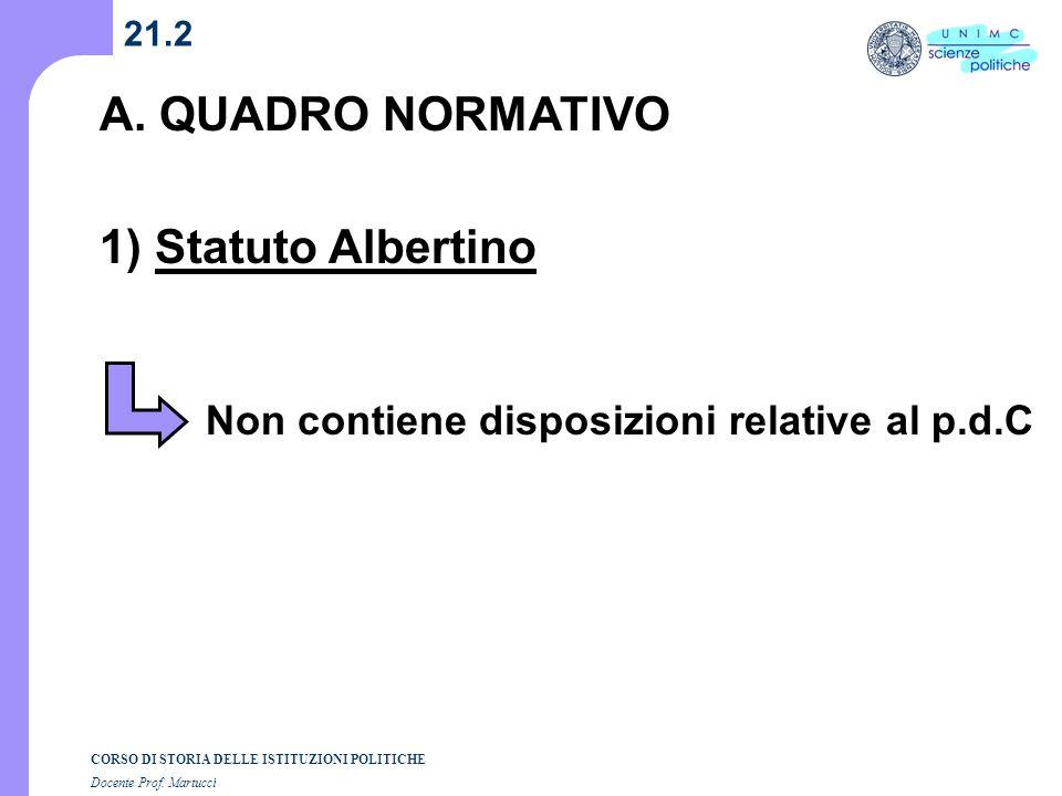 CORSO DI STORIA DELLE ISTITUZIONI POLITICHE Docente Prof. Martucci 21.2 A. QUADRO NORMATIVO 1) Statuto Albertino Non contiene disposizioni relative al