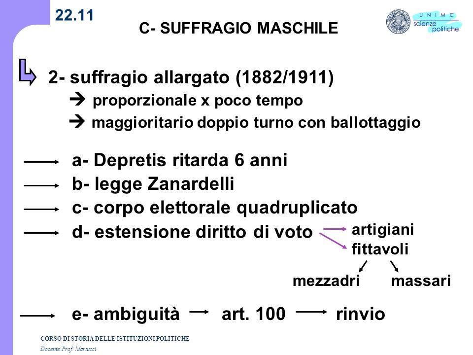 CORSO DI STORIA DELLE ISTITUZIONI POLITICHE Docente Prof. Martucci 22.11 C- SUFFRAGIO MASCHILE 2- suffragio allargato (1882/1911) proporzionale x poco