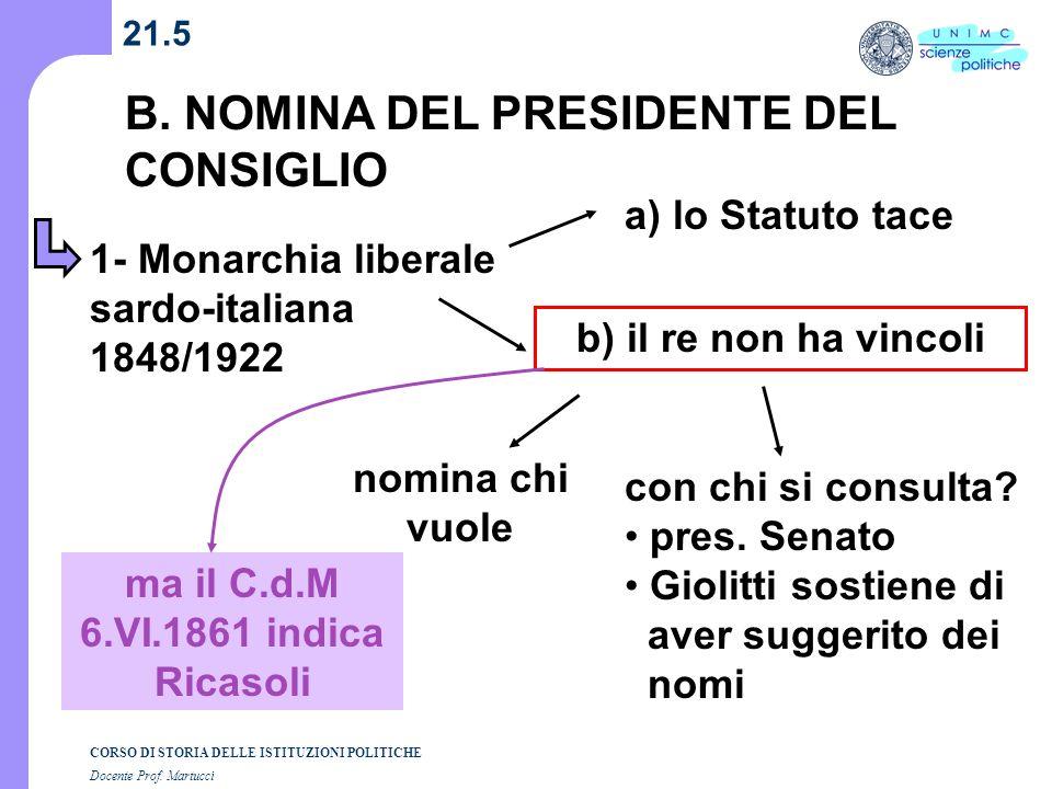 CORSO DI STORIA DELLE ISTITUZIONI POLITICHE Docente Prof. Martucci 21.5 B. NOMINA DEL PRESIDENTE DEL CONSIGLIO a) lo Statuto tace 1- Monarchia liberal