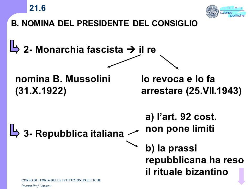 CORSO DI STORIA DELLE ISTITUZIONI POLITICHE Docente Prof. Martucci 21.6 B. NOMINA DEL PRESIDENTE DEL CONSIGLIO 2- Monarchia fascista il re nomina B. M