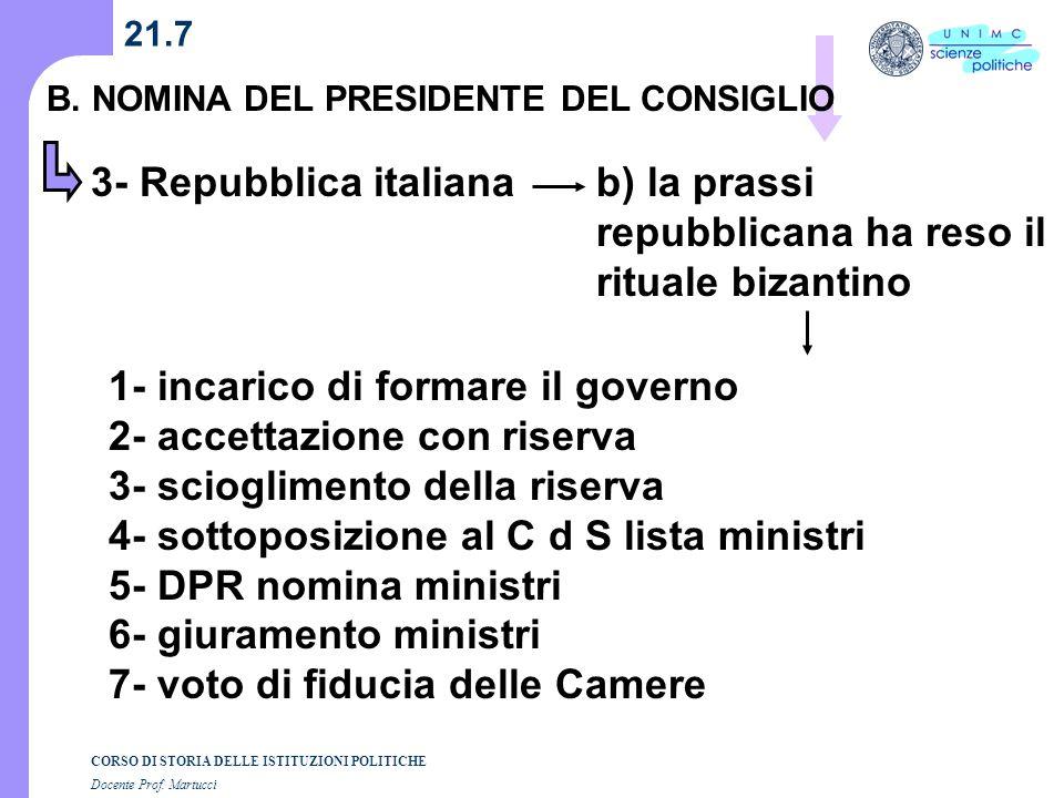 CORSO DI STORIA DELLE ISTITUZIONI POLITICHE Docente Prof. Martucci 21.7 B. NOMINA DEL PRESIDENTE DEL CONSIGLIO 3- Repubblica italianab) la prassi repu