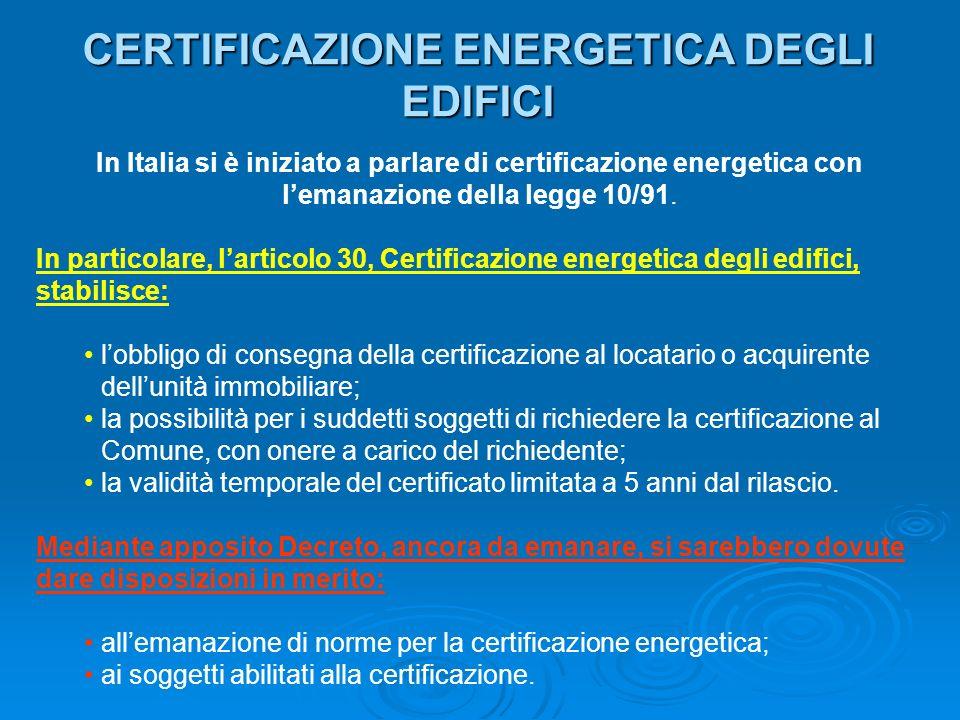 CERTIFICAZIONE ENERGETICA DEGLI EDIFICI In Italia si è iniziato a parlare di certificazione energetica con lemanazione della legge 10/91. In particola
