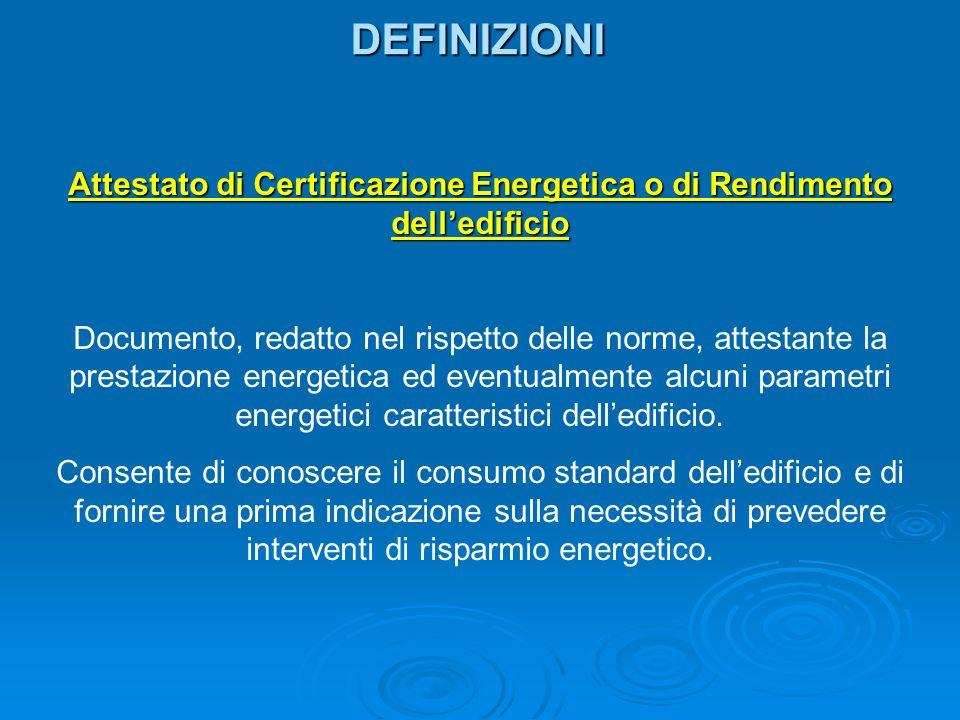 DEFINIZIONI Attestato di Certificazione Energetica o di Rendimento delledificio Documento, redatto nel rispetto delle norme, attestante la prestazione