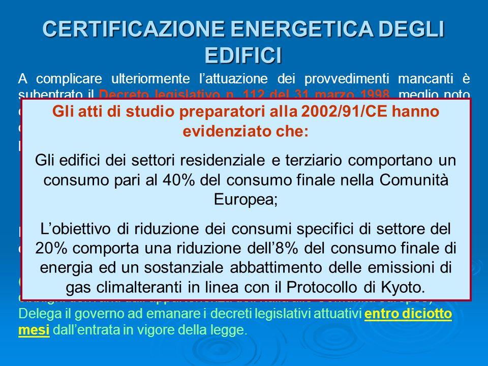 CERTIFICAZIONE ENERGETICA DEGLI EDIFICI A complicare ulteriormente lattuazione dei provvedimenti mancanti è subentrato il Decreto legislativo n. 112 d