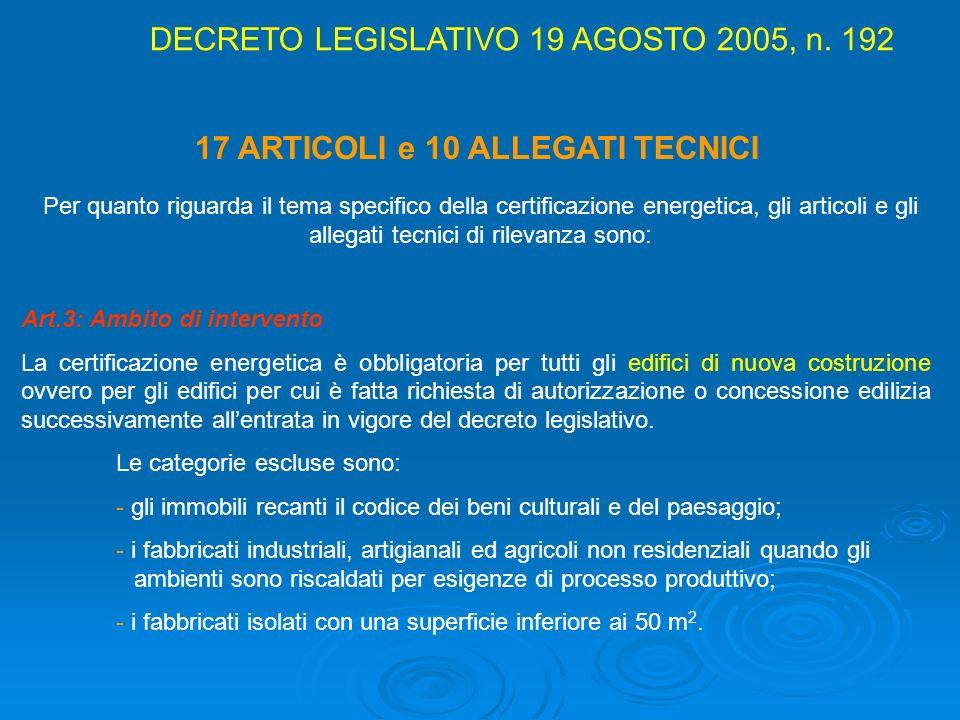 17 ARTICOLI e 10 ALLEGATI TECNICI Per quanto riguarda il tema specifico della certificazione energetica, gli articoli e gli allegati tecnici di rileva