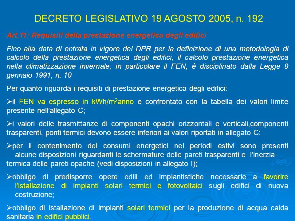 Art.11: Requisiti della prestazione energetica degli edifici Fino alla data di entrata in vigore dei DPR per la definizione di una metodologia di calc