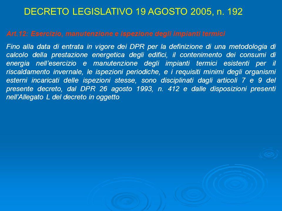 Art.12: Esercizio, manutenzione e ispezione degli impianti termici Fino alla data di entrata in vigore dei DPR per la definizione di una metodologia d
