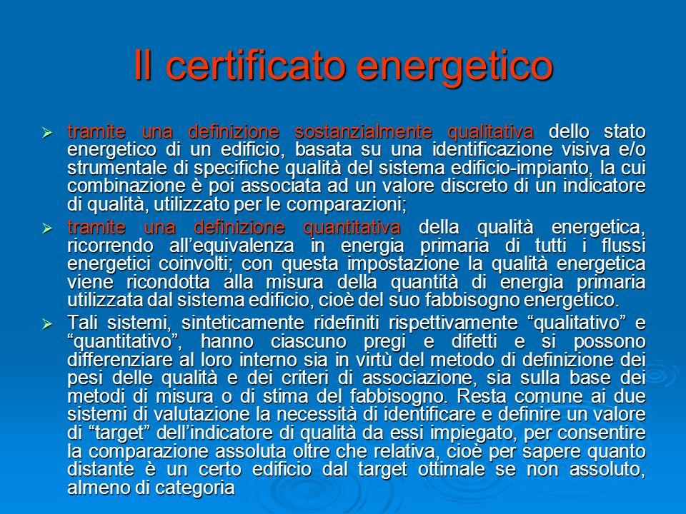 Il certificato energetico tramite una definizione sostanzialmente qualitativa dello stato energetico di un edificio, basata su una identificazione vis